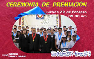 Ceremonia de Premiación Oct17Feb18 @ CEPUNT